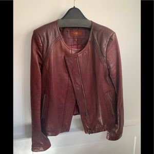 7 For All Mankind Burgundy Leather Jacket size L
